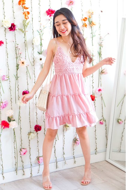 By The Coast Crochet Dress in Pink