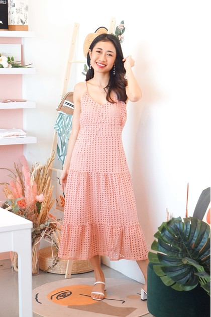 There She Is Crochet Midi Dress in Pink