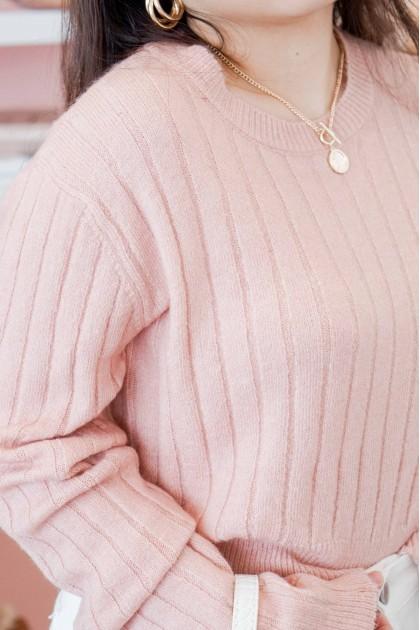 Lofi Morning Knit Sweater in Pink
