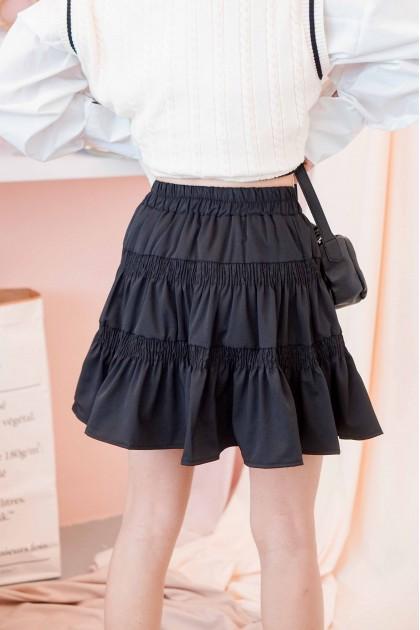 Fickle Heart Layered Skater Skirt in Black