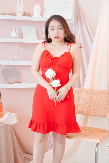 Dance Glance Self Tied Dress in Red