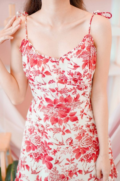 Blessings Calling Floral Dress in Red
