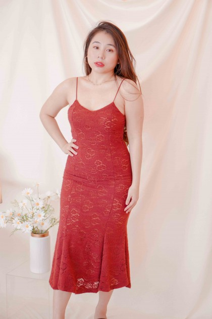 (BACKORDER) Dream Embrace Maxi Lace Dress in Red