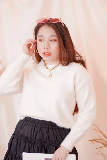 Fur Balls Sweater in White
