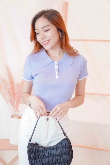 (BACKORDER) Sugar Heart Collar Knit Top in Purple