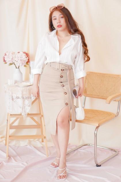 Turn Heads Midi Slit Skirt in Khaki