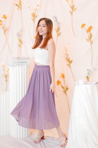 Sweeter Days Pleated Chiffon Skirt in Purple