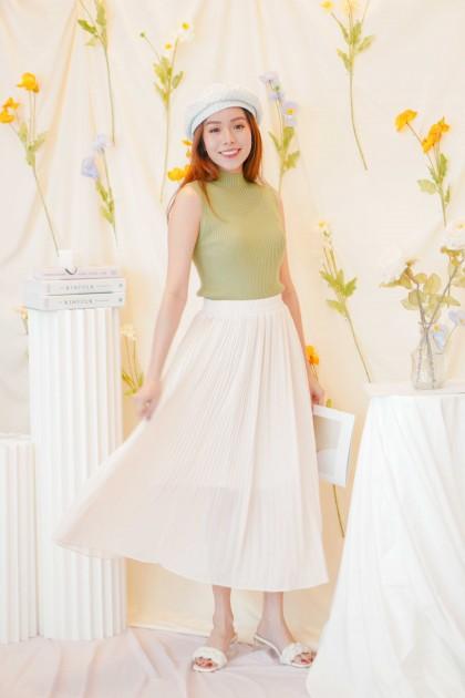 Sweeter Days Pleated Chiffon Skirt in Beige