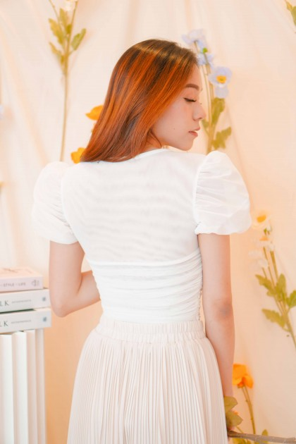Won't Let You Sweetheart Mesh Blouse in White