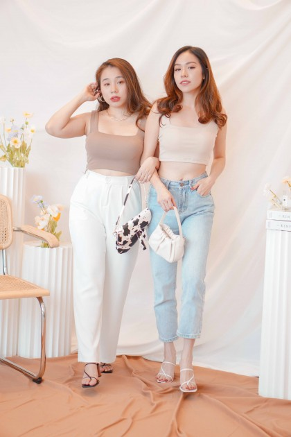 Cold Hearted Padded Crop Top in Beige