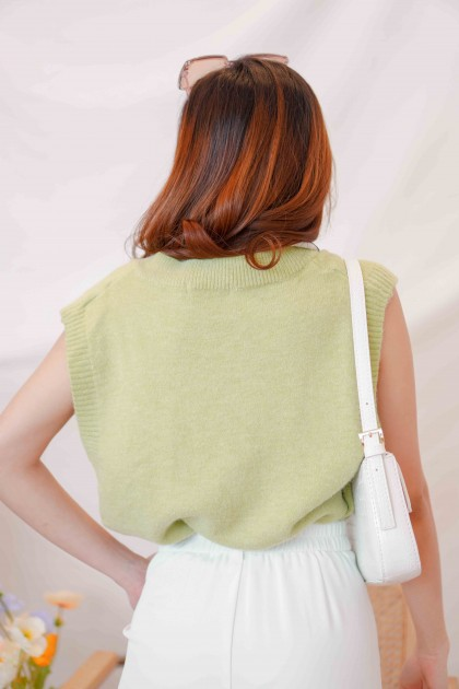Peppermint Candy Knit Vest in Green