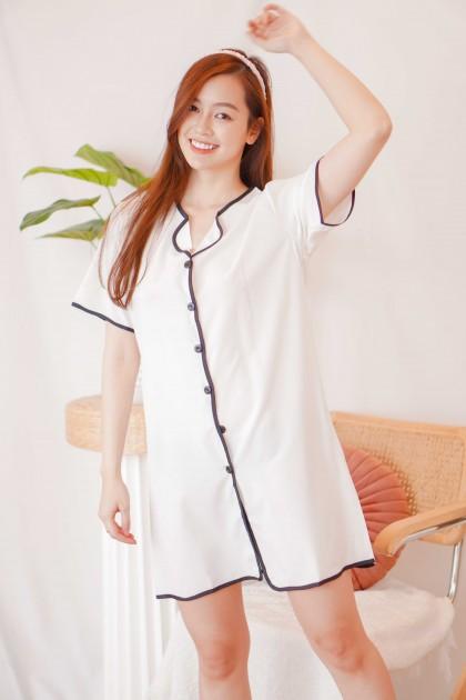 Peace Dreams Pyjamas Dress in White