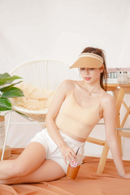 Jenna Padded Camisole Top in Nude