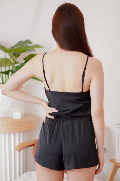 Silk Nights 2 Piece Pyjamas Set in Black