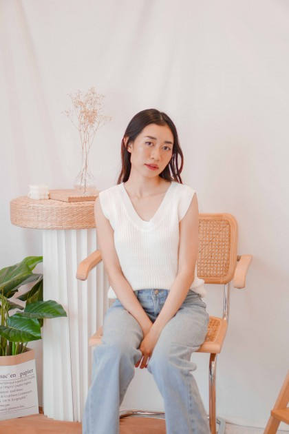 Style Interest 2 Piece Knit Top in White